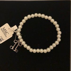 Pearl Bracelet with Charm NWT